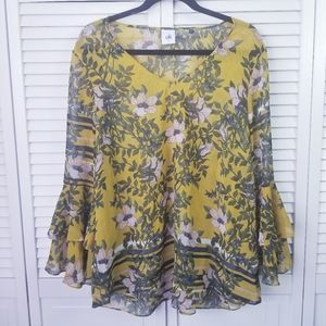 Cabi Yellow Floral Bell Sleeve V Neck Blouse XL